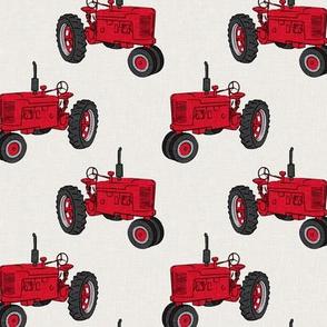 Vintage Tractors - Farming - Red on cream  - LAD19