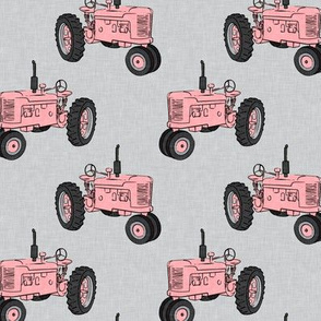Vintage Tractors - Farming - Pink on Grey - LAD19
