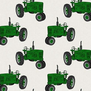 Vintage Tractors - Farming - green on cream - LAD19