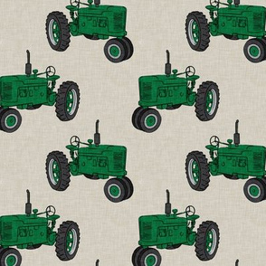 Vintage Tractors - Farming - green on beige - LAD19