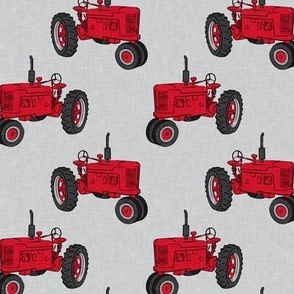 Vintage Tractors - Farming - Red on light Grey - LAD19