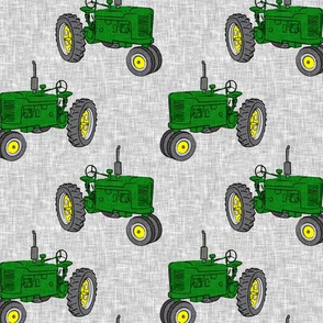 Vintage Tractors - Green & Yellow on Grey - LAD19