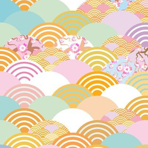 Nature background with flower, rosy pink Cherry, wave circle pattern blue orange