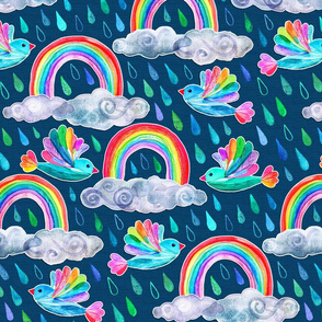Spring Showers and Rainbow Birds - dark blue
