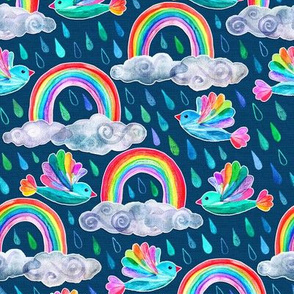 Spring Showers and Rainbow Birds - dark blue, small print