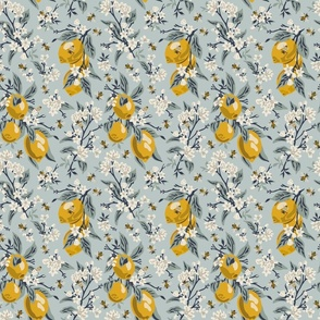 Bees & Lemons - Small - Blue