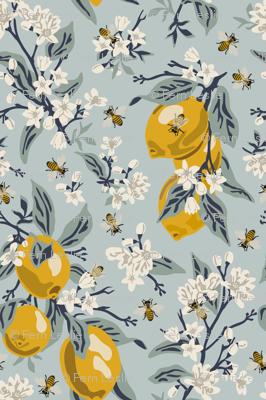 Bees And Lemons - Blue - Medium