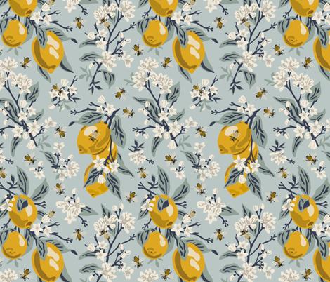 Bees And Lemons - Blue - Medium fabric by fernlesliestudio on Spoonflower - custom fabric