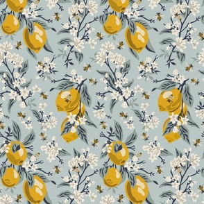 Bees And Lemons - Blue - Medium