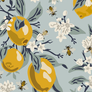 Bees And Lemons - Blue - Jumbo