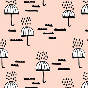 Umbrella rainy day april showers cloudy sky clouds illustration Scandinavian style illustration blush spring