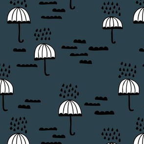 Umbrella rainy day april showers cloudy sky clouds illustration Scandinavian style illustration blue navy night