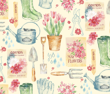 Vintage Floral Gardener  fabric by ohn_mar_win on Spoonflower - custom fabric