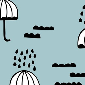 Umbrella rainy day april showers cloudy sky clouds illustration Scandinavian style illustration winter blue JUMBO