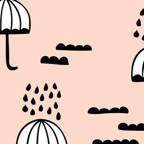 Umbrella rainy day april showers cloudy sky clouds illustration Scandinavian style illustration blush spring JUMBO