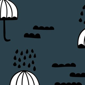 Umbrella rainy day april showers cloudy sky clouds illustration Scandinavian style illustration blue navy night JUMBO