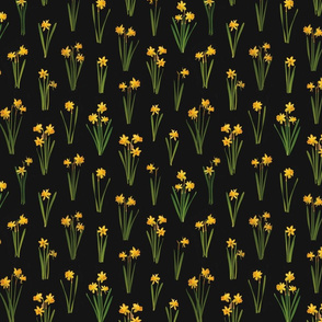 daffodils on black reapeat pattern tile