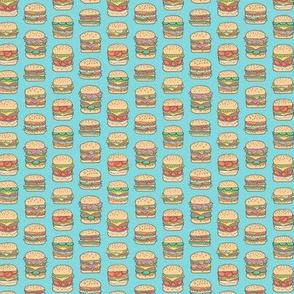 Hamburgers Junk Food Fast food on Aqua Blue Tiny Small