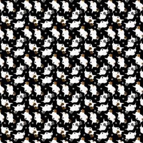 Trotting Phalene and paw prints - tiny black