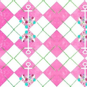 argyle tipsy  anchor floral 3  - MED 52 watercolor cotton candy apple