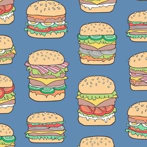 Hamburgers Junk Food Fast food on Dark Blue Navy