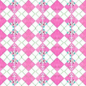 argyle tipsy  anchor floral 3  - SMALL 267 watercolor cotton candy apple