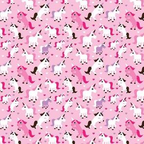 Pink unicorn horse love pink girls fabric mini