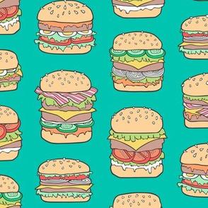 Hamburgers Junk Food Fast food on Green