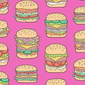 Hamburgers Junk Food Fast food on Magenta Pink