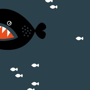 Little big fish baby shark under water world quirky cartoon abstract illustration night boys JUMBO