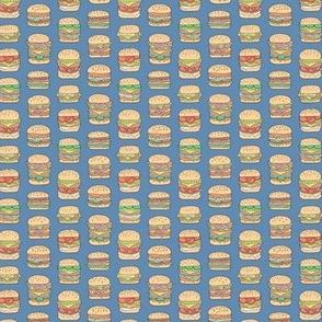 Hamburgers Junk Food Fast food on Dark Blue Navy Tiny Small
