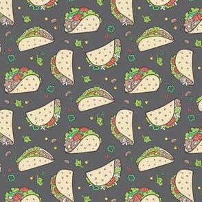 Tacos Food on Dark Grey Charcoal Smaller 1,5 inch