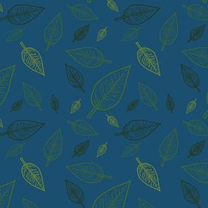 Leaves of Spring on Blue