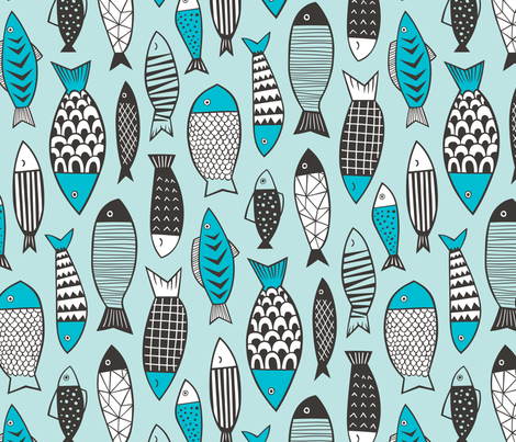 Fish Geometric in Blue Larger fabric by caja_design on Spoonflower - custom fabric