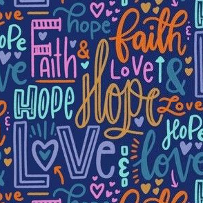 Faith, hope and love - navy blue