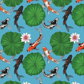 Asian Koi Fish and Lily Pads Botanical - Light Blue - Smaller Size Version