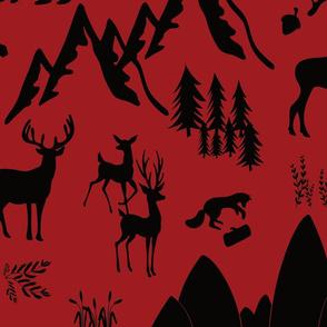 woodland animals black red background