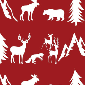 woodland animals white red background