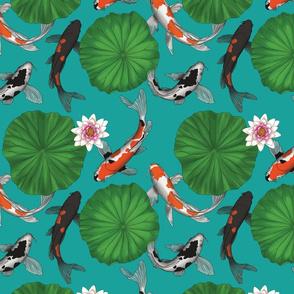 Vintage Chinese Lotus and Koi Fish Fabric - Teal