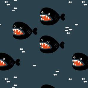 Little big fish baby shark under water world quirky cartoon abstract illustration night boys