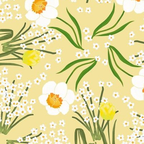 Spring Flowers Tulip Daffodil and Paperwhites on Yellow