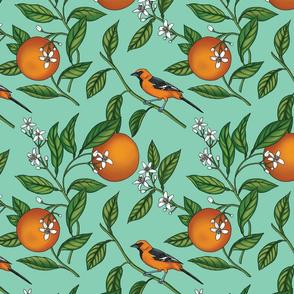 Orange Birds and Fruit Tree Botanical - Teal Green - Small Version