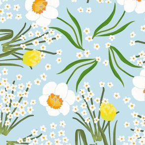 Spring Flowers Tulip Daffodil and Paperwhites on Pale Blue