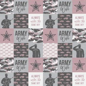 "(1"" scale) Army Wife - Patchwork fabric (always under the same sky) - Soldier Military - mauve and camo - LAD19BS"