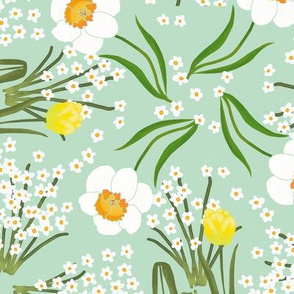 Spring Flowers Tulip Daffodil and Paperwhites on Mint Green
