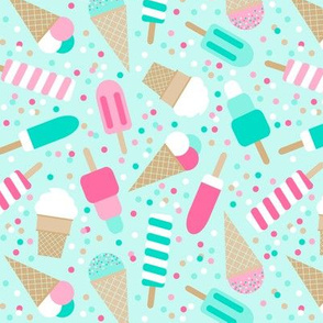 ice cream party on mint - extra small