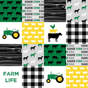 farm life - wholecloth green, custom yellow, and black (black cows) - woodgrain C19BS