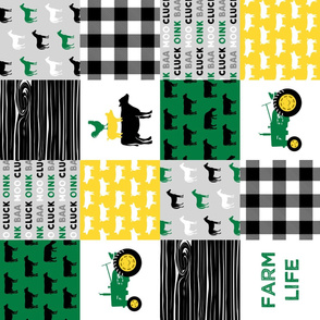 farm life - wholecloth green, custom yellow, and black (black cows) - woodgrain (90) C19BS