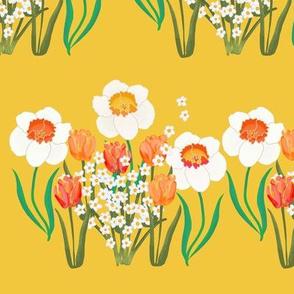 Spring Flowers Stripe on Golden Yellow