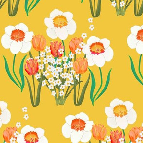 Spring Flowers on Golden Yellow